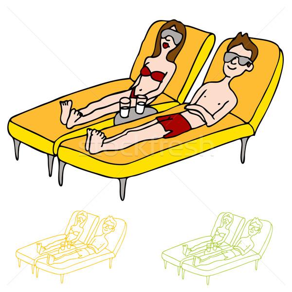 Sun Tanning Couple Stock photo © cteconsulting
