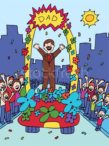 Hoera vader cartoon vieren kinderen Stockfoto © cteconsulting