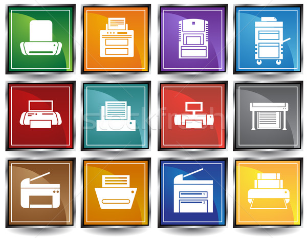 Printer iconen computer papier ontwerp Stockfoto © cteconsulting