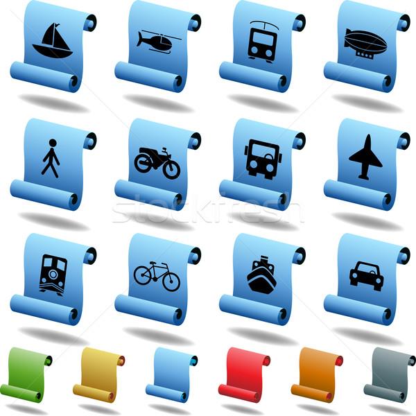 Transport przyciski przejdź zestaw 12 internetowych Zdjęcia stock © cteconsulting