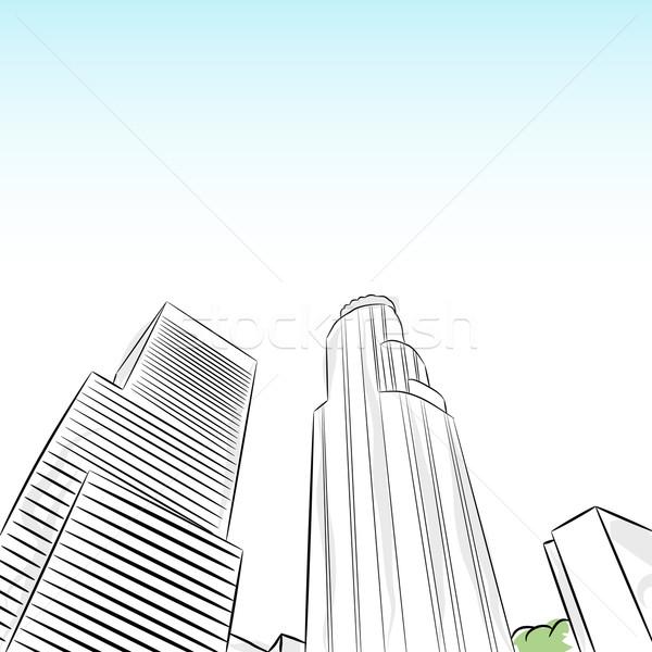 центра Лос-Анджелес Финансовый район изображение графических Cartoon Сток-фото © cteconsulting