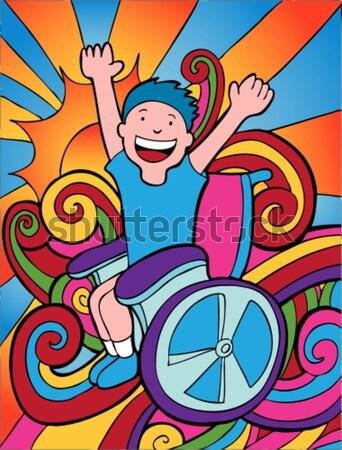 Sedia a rotelle avventuriero bianco nero bambino non modo Foto d'archivio © cteconsulting