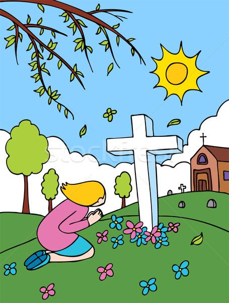 Cemetery Praying Stock photo © cteconsulting