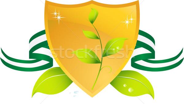 ストックフォト: 緑 · シールド · 金 · 画像 · 3D · 葉