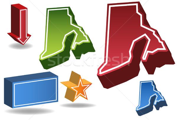 Сток-фото: Род-Айленд · 3D · набор · иконки · дизайна