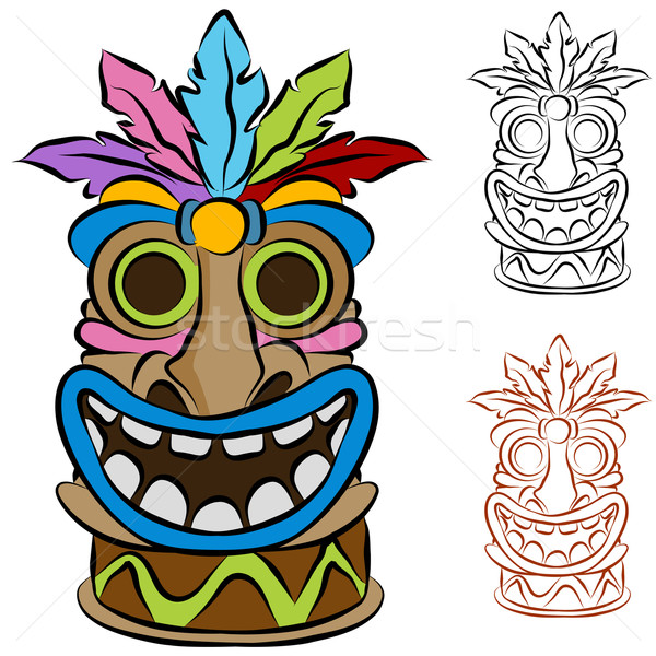 Wooden Tribal Tiki Idol Stock photo © cteconsulting