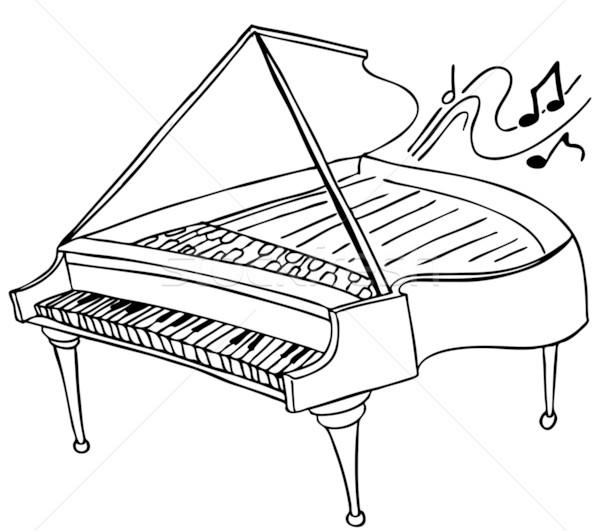 Zongora kép baba fekete hang fehér Stock fotó © cteconsulting