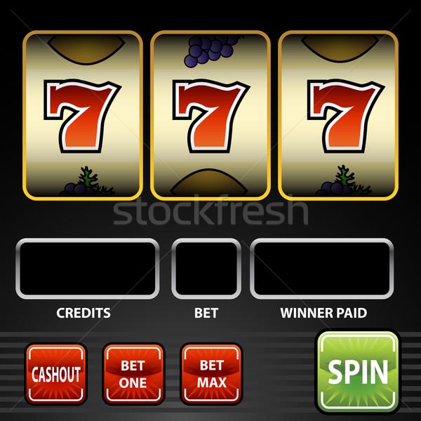 Szerencsés hét játékautomata kép zöld fekete Stock fotó © cteconsulting