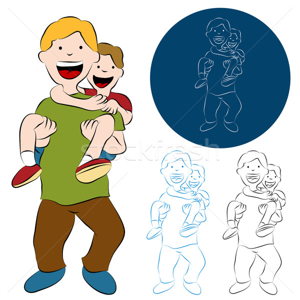 Father Son Piggy Back Ride Stock photo © cteconsulting