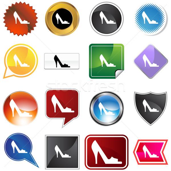 Nyitva lábujj cipő kép női kék Stock fotó © cteconsulting