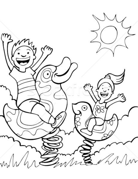 Enfants jouant parc livre heureux soleil art Photo stock © cteconsulting
