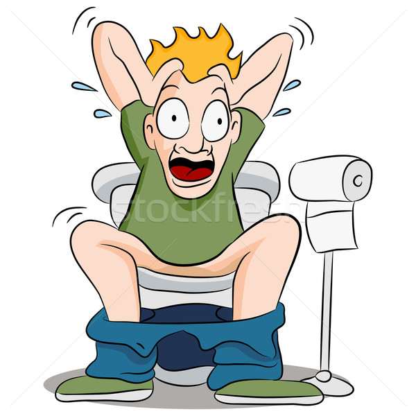 Stock photo: Constipated Man on Toilet