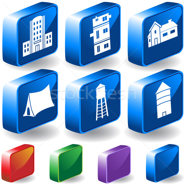 Stock photo: Set of 3D Building Icons