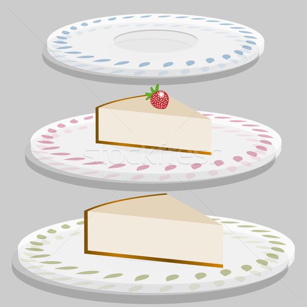 Strawberry cheesecake plaka görüntü yaprak kek çilek Stok fotoğraf © cteconsulting