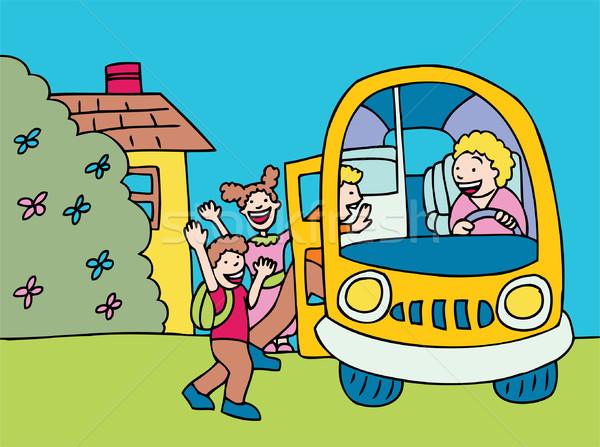 Autobús embarque ninos bordo autobús escolar diseno Foto stock © cteconsulting