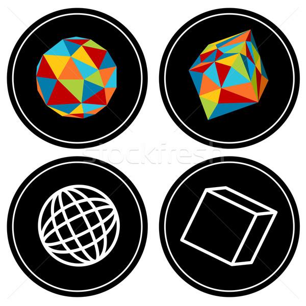 Geométrico polígono imagem conjunto ícones Foto stock © cteconsulting