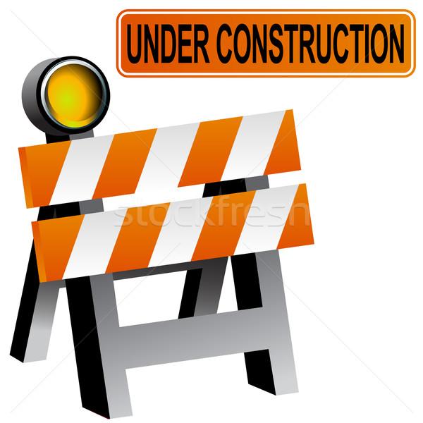Construção barricar 3D imagem estrada luz Foto stock © cteconsulting