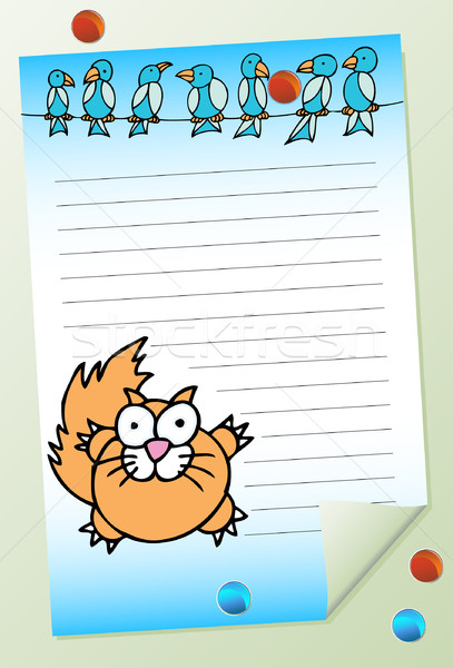 Cat with Birds Notepad Stock photo © cteconsulting