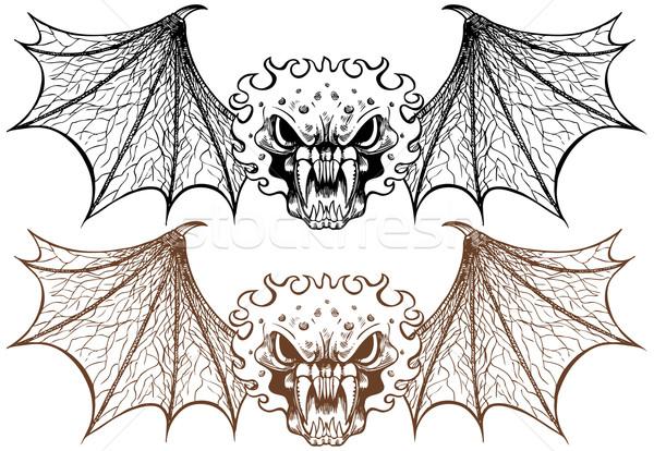 набор стороны дизайна искусства череп крыльями Сток-фото © cteconsulting