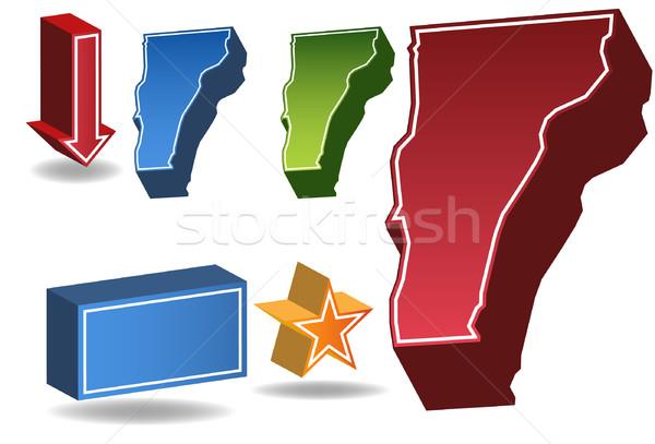 Vermont 3D conjunto ícones mapa Foto stock © cteconsulting