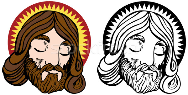 Jesus cartoon afbeelding boek god kroon Stockfoto © cteconsulting