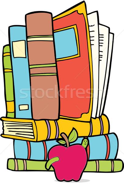 Foto stock: Conjunto · livros · maçã · verme · desenho · animado · imagem