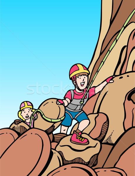 Kinderen rotsklimmen twee klimmen berg versnelling Stockfoto © cteconsulting