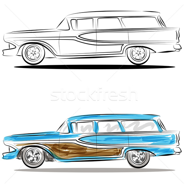 Watercolor Station Wagon Line Art Stock photo © cteconsulting
