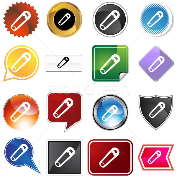 Safety Pin Icon Set Stock photo © cteconsulting