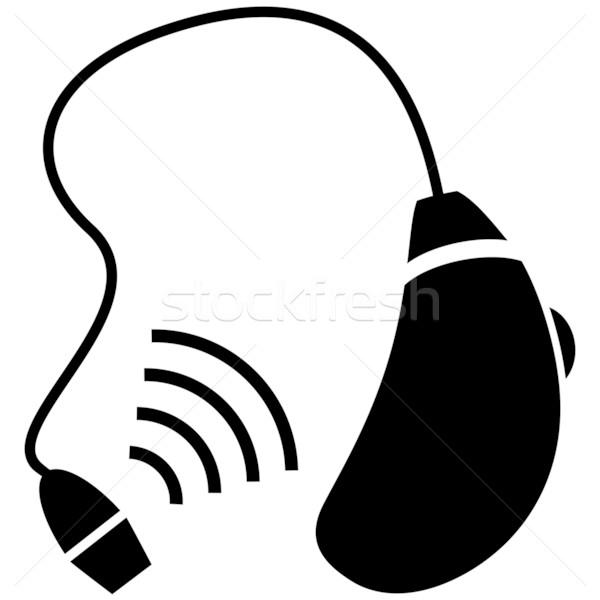 Aparat słuchowy obraz ucha słuchać ikona handicap Zdjęcia stock © cteconsulting