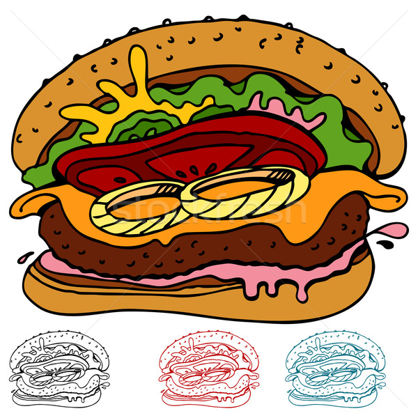 Juteuse hamburger image alimentaire art Photo stock © cteconsulting