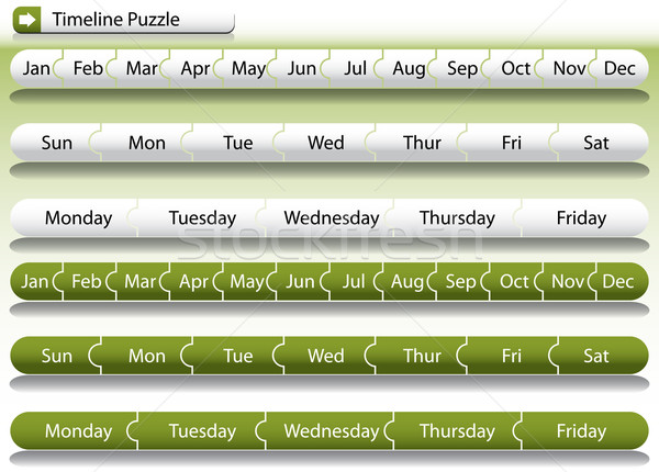 Idővonal puzzle kép zöld bár fehér Stock fotó © cteconsulting