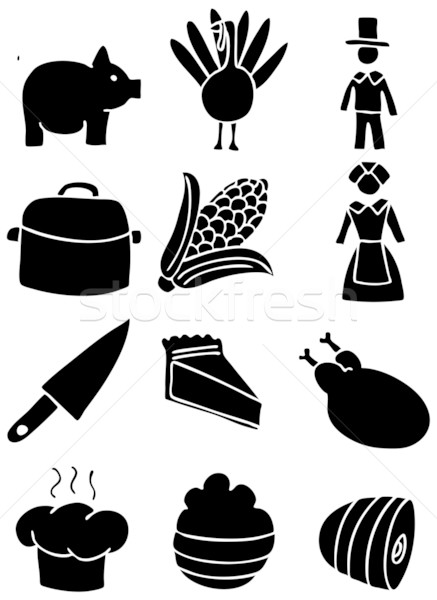 Thanksgiving Icons - Black and White Stock photo © cteconsulting
