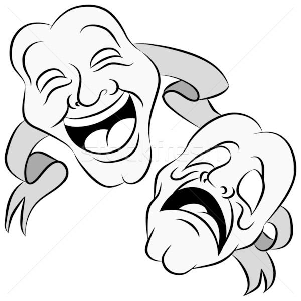 Dráma maszkok kép szett boldog szomorú Stock fotó © cteconsulting