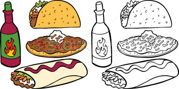 Mexikói ételek rajz kép választék különböző Stock fotó © cteconsulting