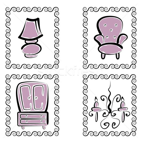 мебель набор изображение лампы Председатель Сток-фото © cteconsulting
