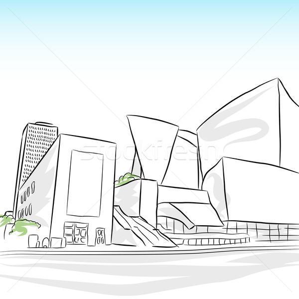 Centrum Los Angeles skyline afbeelding schets stad Stockfoto © cteconsulting