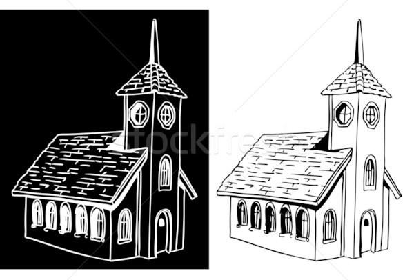 Kościoła obraz budynku czarny biały rysunek Zdjęcia stock © cteconsulting