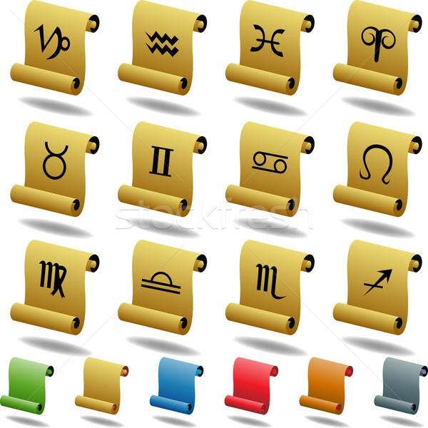 Zodíaco horóscopo ícones rolar conjunto 12 Foto stock © cteconsulting