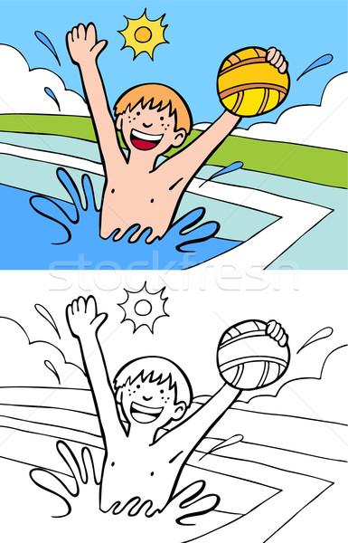 Havuz top karikatür görüntü erkek oynama Stok fotoğraf © cteconsulting