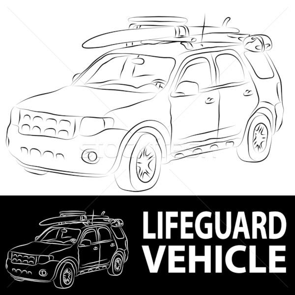 Ratownik pojazd obraz plaży line rysunek Zdjęcia stock © cteconsulting