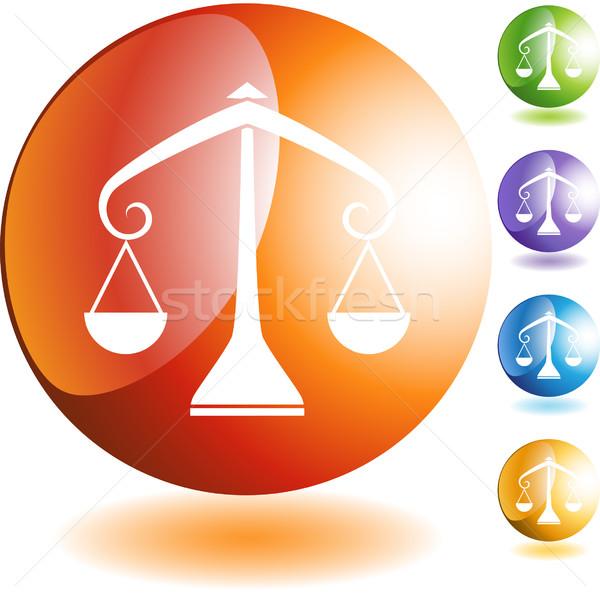 Foto stock: Escala · botão · isolado · projeto · azul · justiça