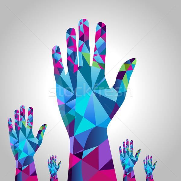 Poligono mano immagine mani alzate stile Foto d'archivio © cteconsulting