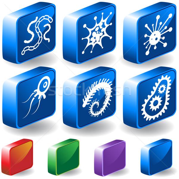Microscópico ícones imagem médico vidro fundo Foto stock © cteconsulting