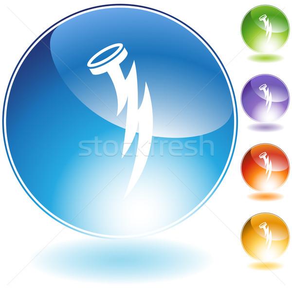Szög villám ikon izolált fehér villám Stock fotó © cteconsulting