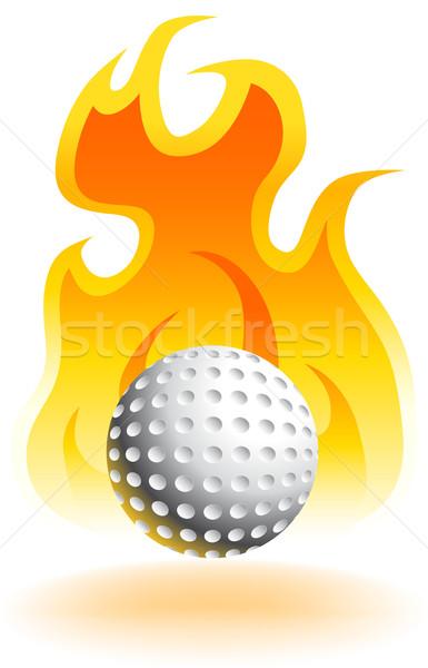Stock photo: Fire Golfball - 3D