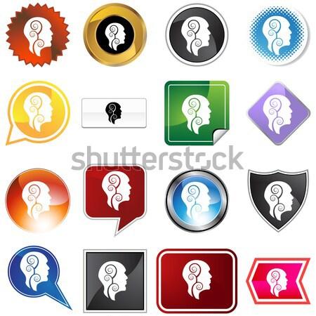 Głowie profil zestaw pary crazy biały Zdjęcia stock © cteconsulting
