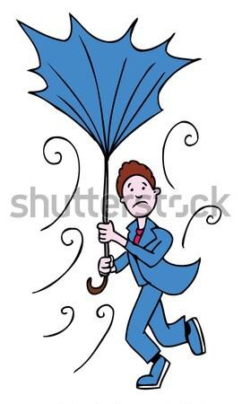 Kırık şemsiye kadın bayan yüzler kötü hava Stok fotoğraf © cteconsulting