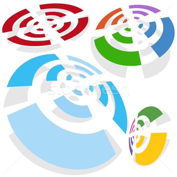 Draadloze signaal ingesteld geïsoleerd witte ontwerp Stockfoto © cteconsulting
