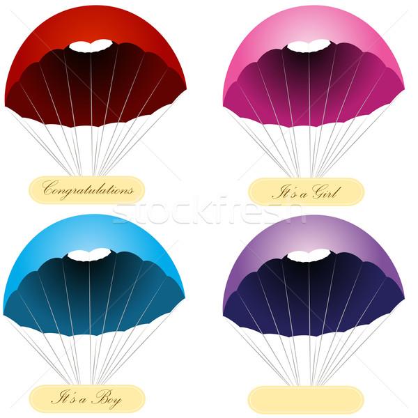 Paraşüt mesaj etiketler görüntü ayarlamak bebek Stok fotoğraf © cteconsulting